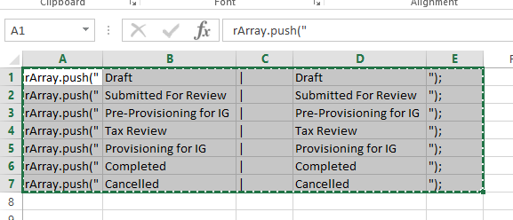 Status option rows in Microsoft Excel