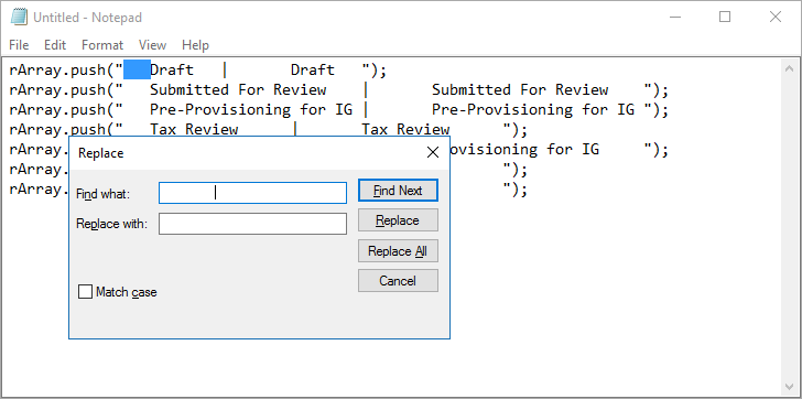 Replacing tab characters in Notepad with blank/null