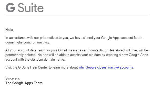 Click here to read Your Google Apps account has been deleted!