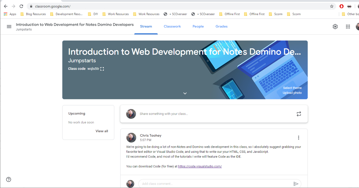 Google Classroom: Introduction to Web Development for Notes Domino Developers