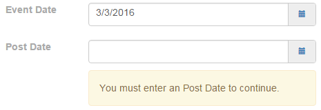 UI Validation Message for 'datepost' Field.